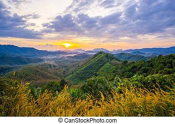 1 January 2018-Phang nga::Sunrise at Phu Ta Tun Viewpoint Phang nga province