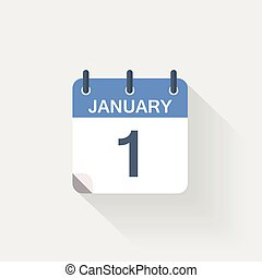 1 january calendar icon on grey background