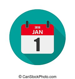 1 january Calendar icon. Vector illustration.