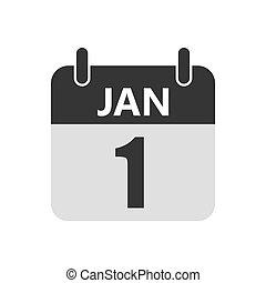 1 january Calendar icon. Vector illustration. - January 1,...