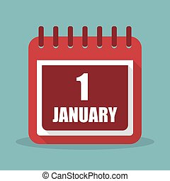 1 january. Calendar in a flat design. Vector illustration