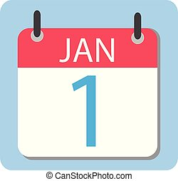 1 January Calendar. Red Calendar icon. New Year.