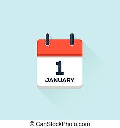 1. january calendar, vector illustration - 1. january flat...