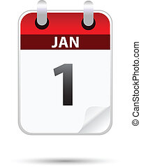 1 january calender on white background