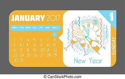 1 January happy New Year 2017 - Calendar for each day on...