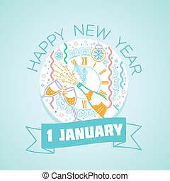 1 January happy New Year - Calendar for each day on January...