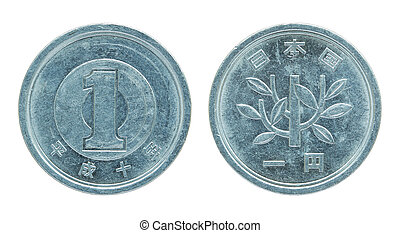 1 japanese yen coin isolated on white with clipping path