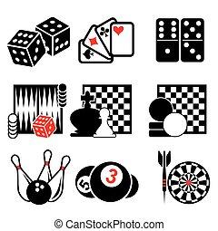 1, jeu, partie, icônes