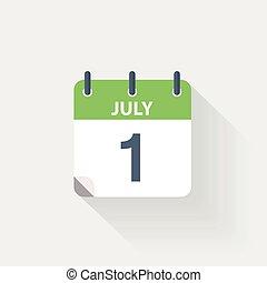 1, juli, kalender, ikon
