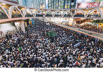 1 July 2014 protest - HONG KONG - JULY 1: Hong Kong people...