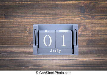 1 july wooden, square calendar