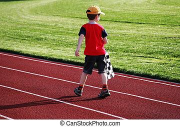 1, junge, rennbahn