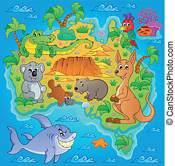 1, kaart, australiër, thema, beeld