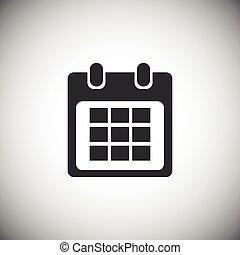 1, kalender, schwarz, ikone