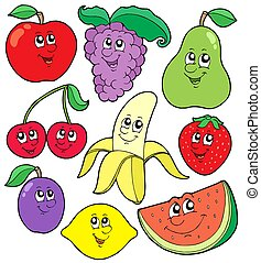 1, karikatur, sammlung, früchte