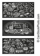 1, klotter, skiss, set., skola, lämna tillbaka, krita, 3, svart, bord, vector., oavgjord, style.