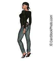 1, -, kobieta, dżinsy, przypadkowy