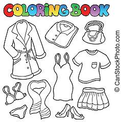 1, kolorit, klänning, bok, kollektion