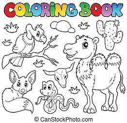 1, kolorowanie, zwierzęta, książka, pustynia