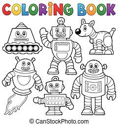 1, koloryt książka, zbiór, robot