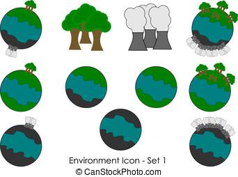 1, -, komplet, ikona, środowisko