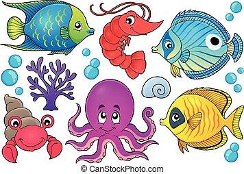 1, korall, fauna, téma, kép