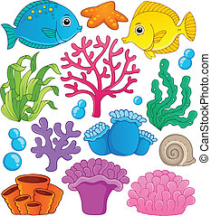 1, korallrev, tema, kollektion