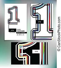 1, kort, design, numrera, affär