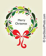 1, krans, -, kerstmis kaart