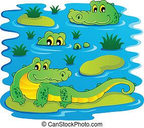 1, krokodil, bild, thema
