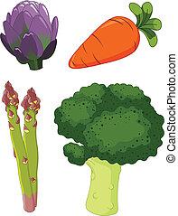 1, légumes, ensemble