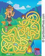 1, labirinto, esploratore ragazza
