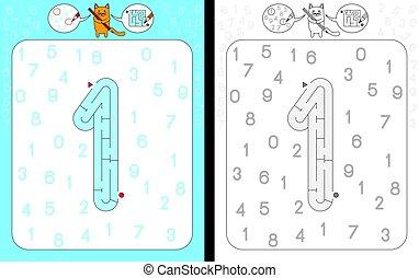 1, labirinto, numero