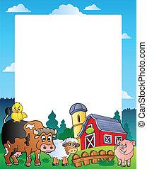 1, land, frame, rode schuur