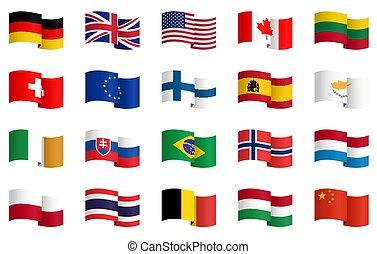 1, land, vlaggen, verzameling