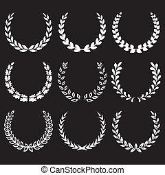 1, laurier, blanc, couronnes