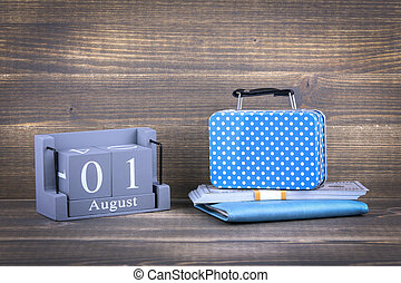 1, legno, agosto, quadrato, calendario