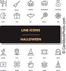 1, ligne, halloween, set., icônes