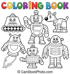 1, livre coloration, collection, robot