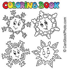 1, livre, coloration, flocons neige, dessin animé