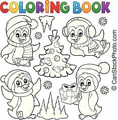 1, livre coloration, pingouins, noël