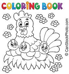 1, livre, thème, coloration, poulet
