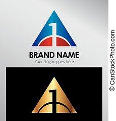 1, logo, dreieck, zählen