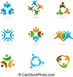 1, logos, menselijk, iconen