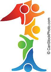 1, logotipo, conceito, trabalho equipe, número