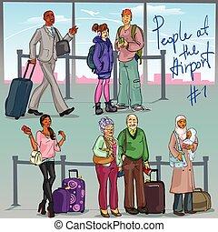 1, lotnisko, część, -, ludzie