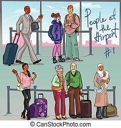 1, luchthaven, deel, -, mensen