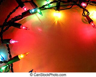 1, lumières, cadre, noël