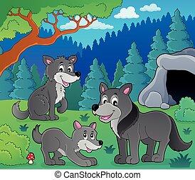 1, lupi, tema, immagine
