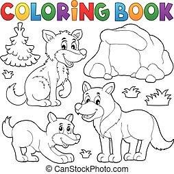 1, lupi, tema, libro colorante